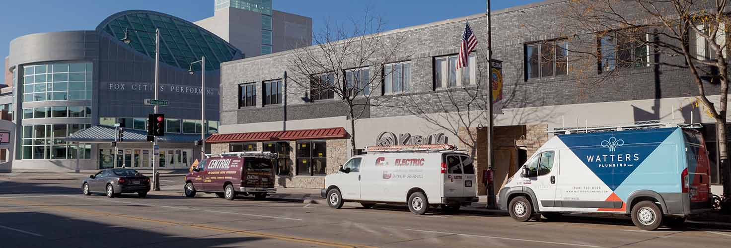 Watters Plumbing truck in downtown Oshkosh